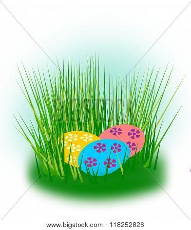 Easter eggs hidden in the grass.
