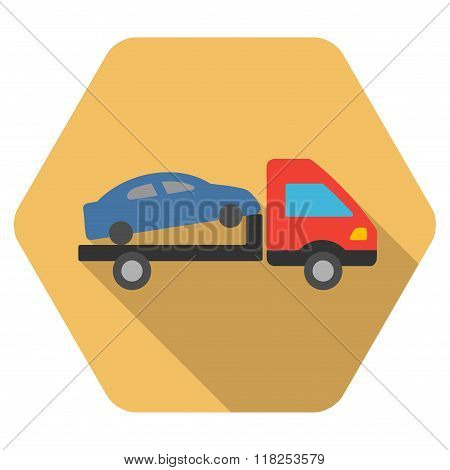 Car Evacuation Flat Hexagon Icon with Long Shadow