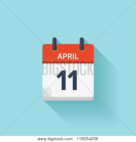 April 11. Vector flat daily calendar icon. Date and time, day, month. Holiday.