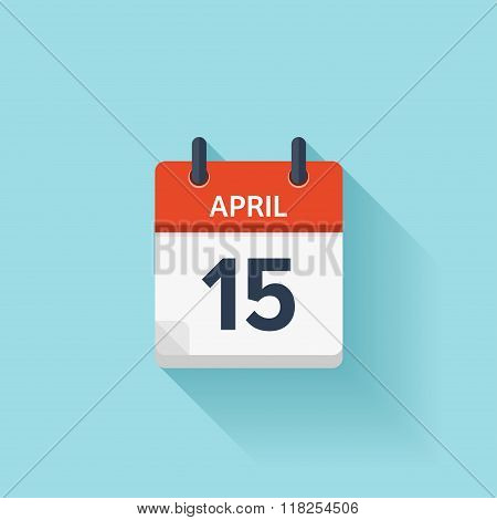 April 15. Vector flat daily calendar icon. Date and time, day, month. Holiday.