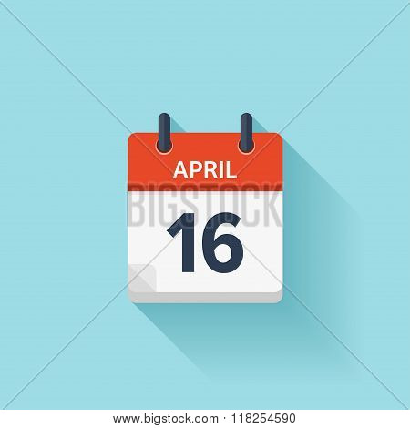 April 16. Vector flat daily calendar icon. Date and time, day, month. Holiday.