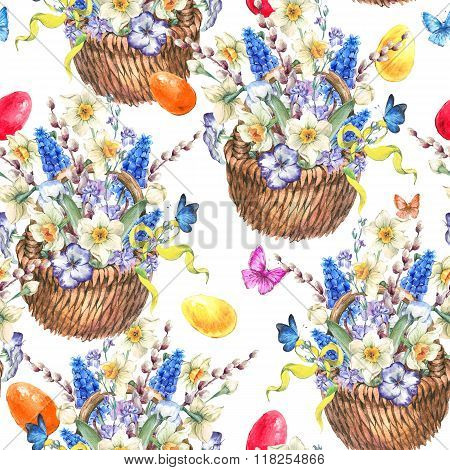 Watercolor vintage Happy Easter seamless pattern