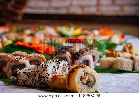 Close-up Of Big Sushi Maki Set