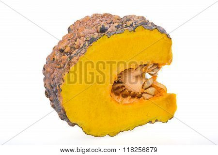 Yellow pumpkin vegetable isolated on white background