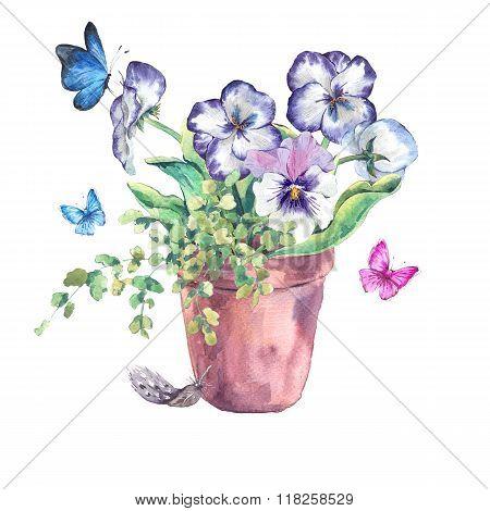 Watercolor Garden Spring bouquet in flower pots
