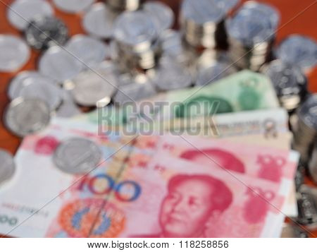 Defocussed Background Of Chinese Yuan Bank Notes