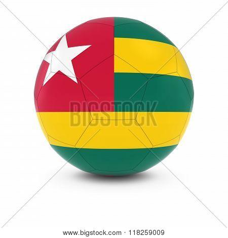 Togo Football - Togolese Flag on Soccer Ball - 3D Illustration