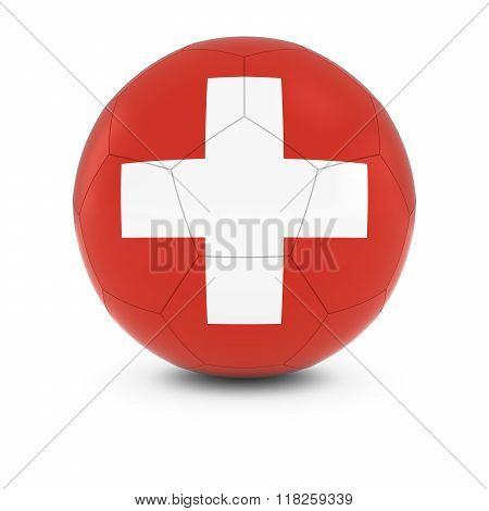 Switzerland Football - Swiss Flag on Soccer Ball - 3D Illustration