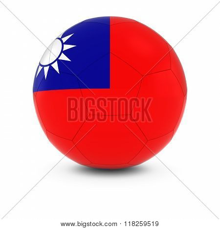 Taiwan Football - Taiwanese Flag on Soccer Ball - 3D Illustration