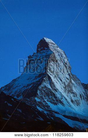 View Of Matterhorn Mt. At Night At Zermatt