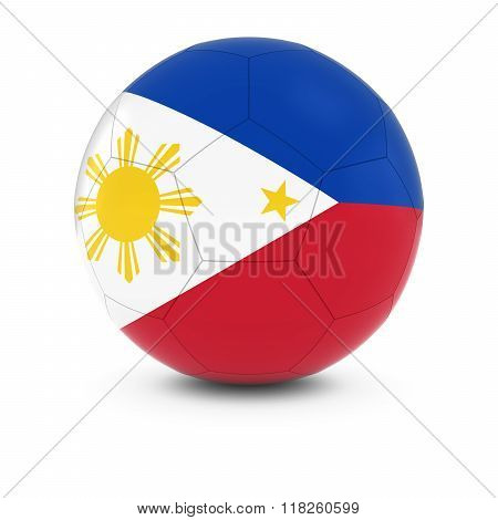 Philippines Football - Filipino Flag on Soccer Ball - 3D Illustration