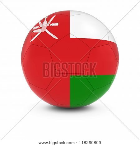 Oman Football - Omani Flag on Soccer Ball - 3D Illustration