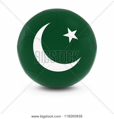 Pakistan Football - Pakistani Flag on Soccer Ball - 3D Illustration
