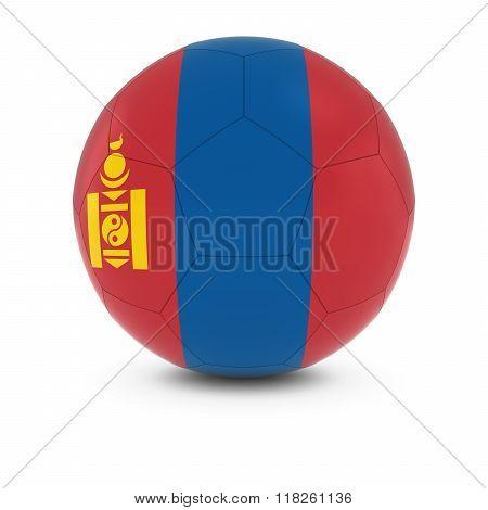 Mongolia Football - Mongolian Flag on Soccer Ball - 3D Illustration