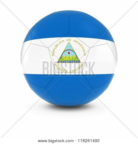 Nicaragua Football - Nicaraguan Flag on Soccer Ball - 3D Illustration