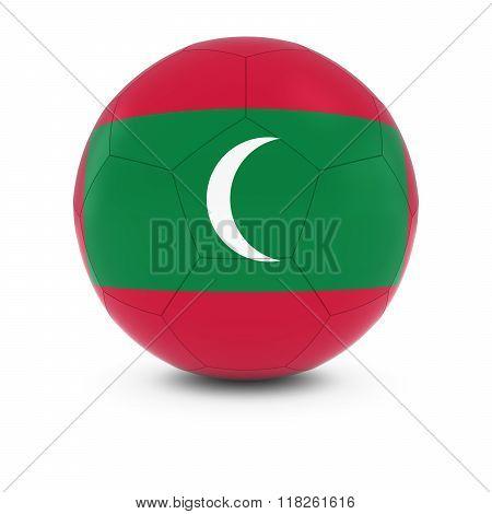 Maldives Football - Maldivian Flag on Soccer Ball - 3D Illustration