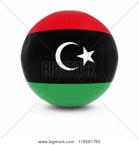 Libya Football - Libyan Flag on Soccer Ball - 3D Illustration