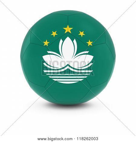 Macau Football - Macanese Flag on Soccer Ball - 3D Illustration