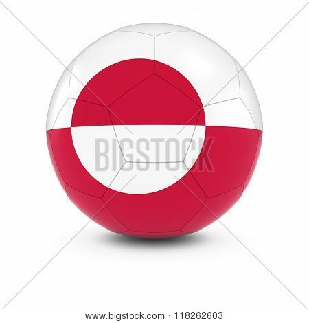 Greenland Football - Greenlandic Flag on Soccer Ball - 3D Illustration