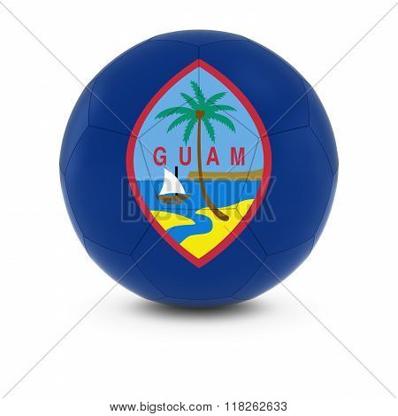 Guam Football - Guamanian Flag on Soccer Ball - 3D Illustration