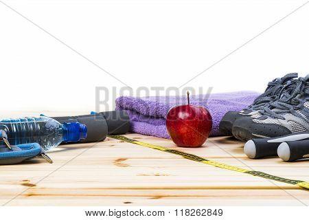 Fitness Equipment On White Background