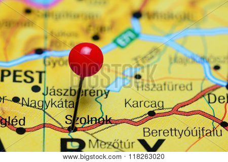 Szolnok pinned on a map of Hungary