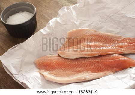 Fresh Raw Rainbow Trout Fillets