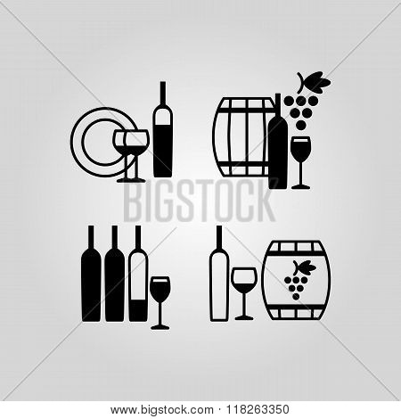 Set of wine flat black icons, symbols, signs and design elements