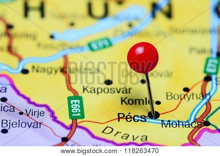 Pecs pinned on a map of Hungary