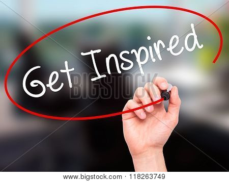 Man Hand Writing Get Inspired With Black Marker On Visual Screen