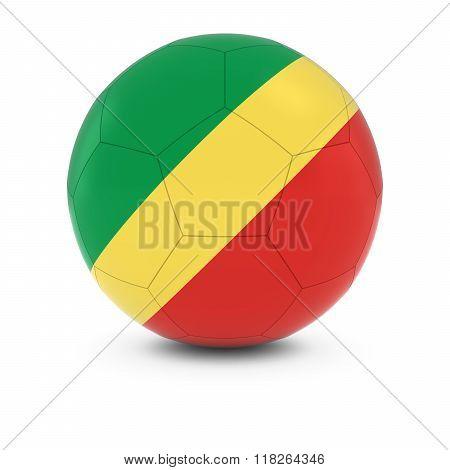 Congo Football - Congolese Flag on Soccer Ball - 3D Illustration