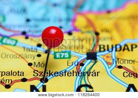 Szekesfehervar pinned on a map of Hungary