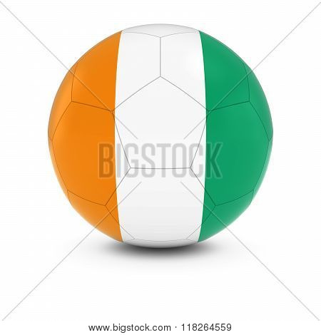 Cote d'Ivoire Football - Ivorian Flag on Soccer Ball - 3D Illustration