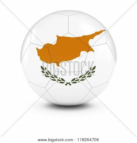 Cyprus Football - Cypriot Flag on Soccer Ball - 3D Illustration