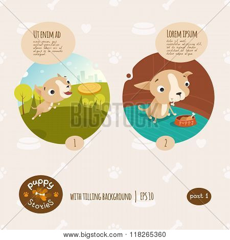 Vector puppy stories illustration