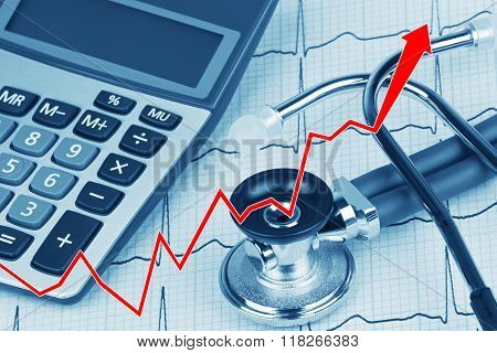 Ekg With Stethoscope And Calculator Showing Cost Of Health Care