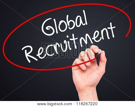 Man Hand Writing Global Recruitment With Black Marker On Visual Screen
