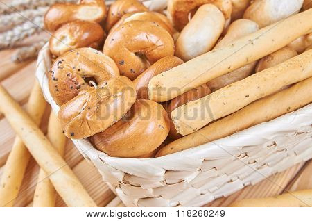 Traditional Bagels In The Basket
