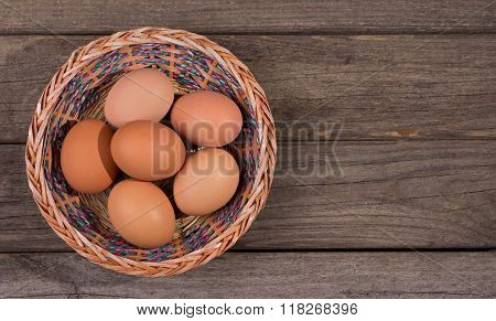 Basket Of Brown Eggs