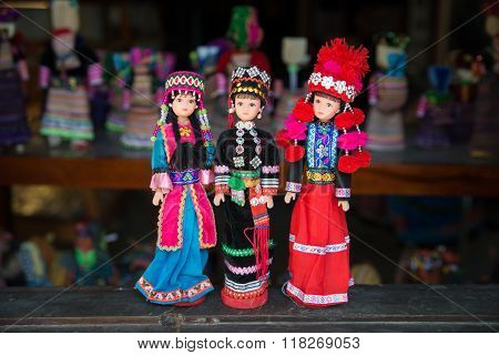 Handicraft puppets in ethnic minority traditional custume are sold in Bac Ha market, Laocai, Vietnam