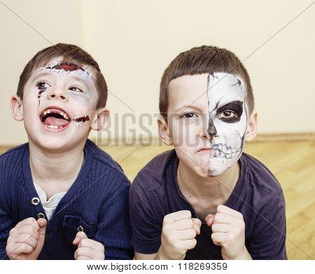 zombie apocalypse kids concept. Birthday party celebration facepaint on children
