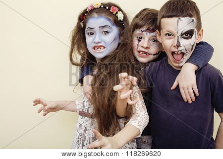 zombie apocalypse kids concept. Birthday party celebration facepaint on children dead bride, scar fa