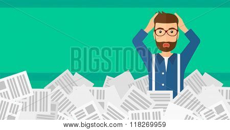 Man in stack of newspapers.