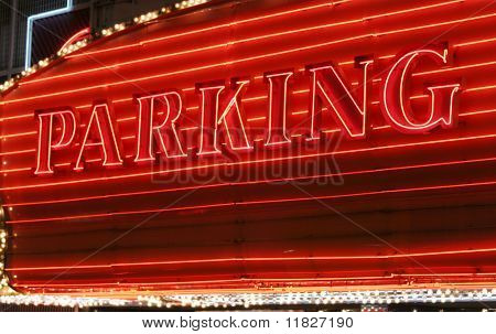 Red neon parking sign