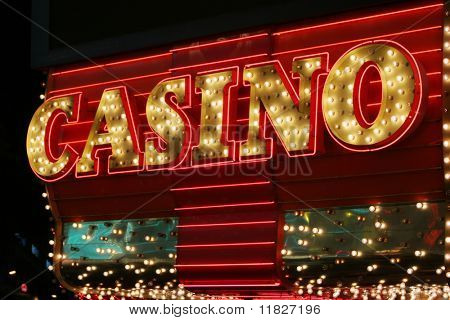 Bright neon casino sign