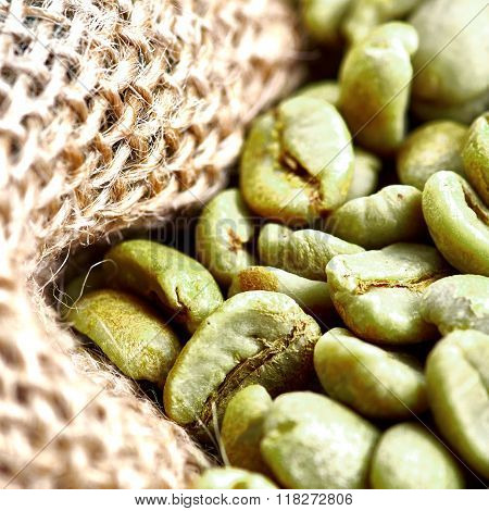 Green Coffee Beans In A Jute Bag