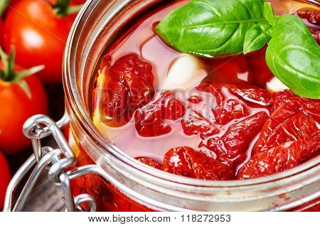 Sun Dried Tomatoes With Olive Oil In A Jar
