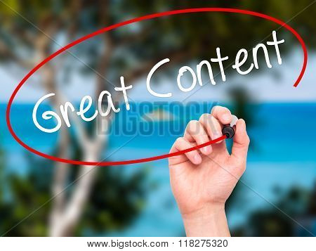Man Hand Writing Great Content  With Black Marker On Visual Screen