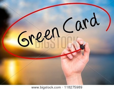 Man Hand Writing Green Card With Black Marker On Visual Screen