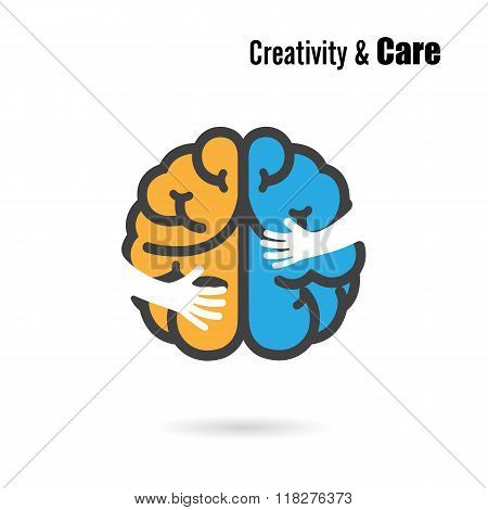 Creative Brain Logo Design Vector Template With Small Hand.education And Business Logotype Concept.